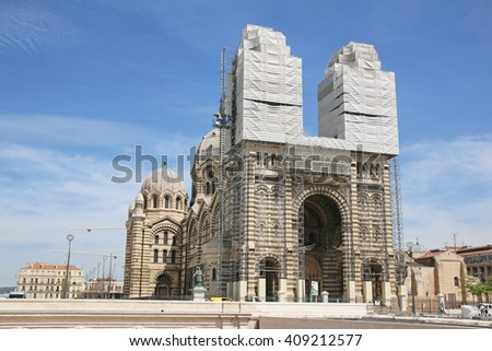 MARSEILLES, FRANCE - APRIL 20, 2016: Cathedral La Major. Marseille is the second largest city in France after Paris and the center of the third largest metropolitan area in France after Paris and . - stock photo
