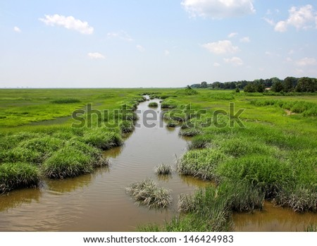 Marsh and wetlands at the Edwin B. Forsythe wildlife refuge in southern New Jersey - stock photo