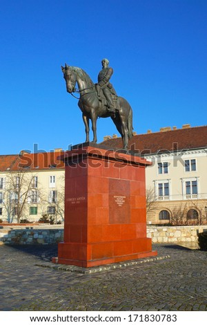 Marshal sculpture on Buda hills Budapest, Hungary - stock photo