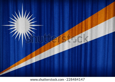 Marshall Islands flag pattern on the fabric curtain,vintage style - stock photo