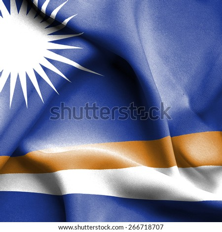 Marshall islands waving flag - stock photo
