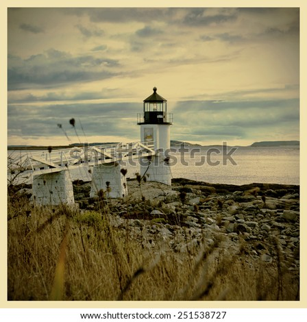 Marshall Point Lighthouse at sunset with instagram filter - stock photo
