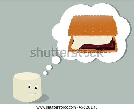 Marshmallow thinking of smore - jpg version - stock photo