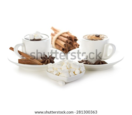 Marshmallow with two cups of hot chocolate isolated - stock photo