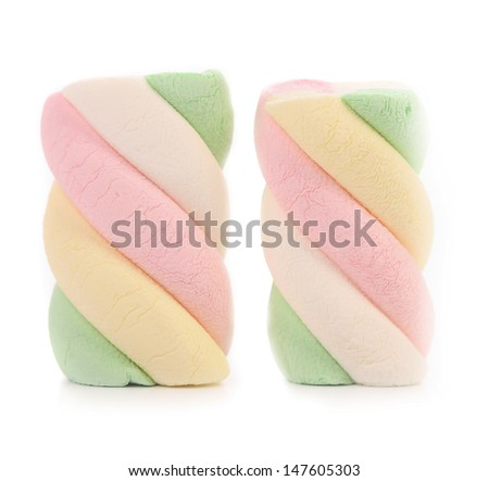 Marshmallows. Different color. Close up. - stock photo