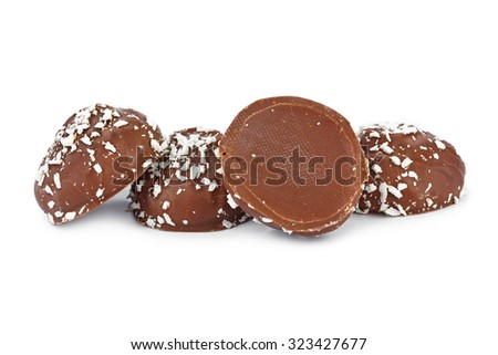 Marshmallows in chocolate isolated on white background - stock photo