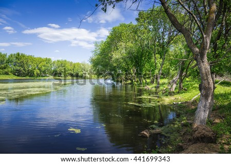 marshy lake in the countryside - stock photo