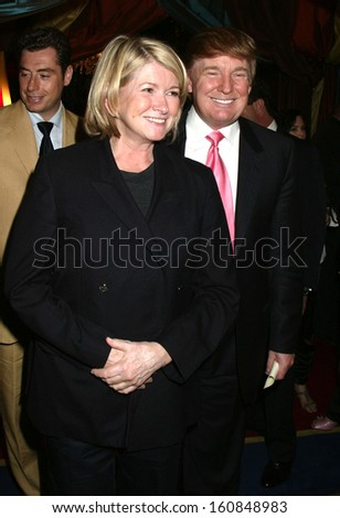 Martha Stewart and Donald Trump at the 80th birthday celebration of restauranteur George Lang, June 15, 2004 at Cafe des Artistes in Manhattan, NY - stock photo