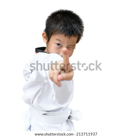 martial arts boy in kimono excercising karate kata, isolated on white. - stock photo