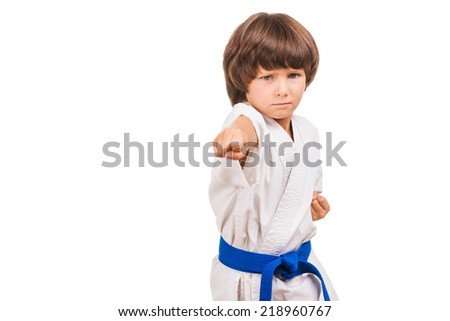 Martial arts boy. Little boy training karate while isolated on white background - stock photo