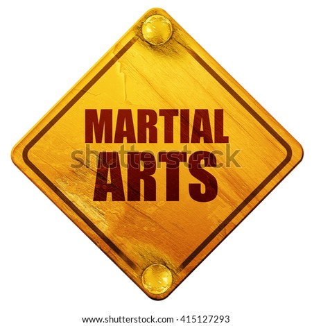 martial arts, 3D rendering, isolated grunge yellow road sign - stock photo