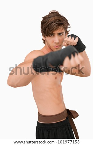 Martial arts fighter in fighting pose against a white background - stock photo