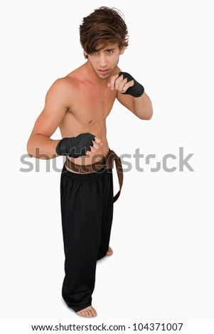 Martial arts fighter in fighting stance against a white background - stock photo