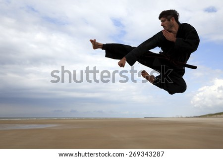 Martial arts jump kick  - stock photo