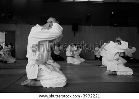 martial arts training class - stock photo