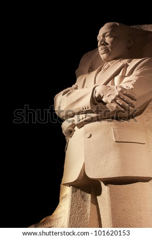 Martin Luther King Jr. Memorial Statue Venus, Jupiter and Stars Night Washington DC Sculptor is Lei Yixin - stock photo