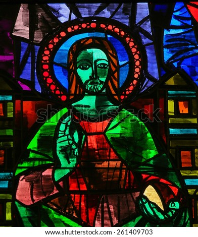 MARTINA FRANCA, ITALY - MARCH 15, 2015: Stained glass window depicting Jesus Christ giving a blessing in the Church of Martina Franca, Apulia, Italy. - stock photo