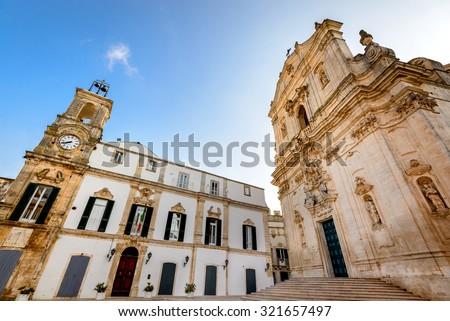 Martina Franca, Puglia. Basilica of San Martino at the Piazza Plebiscito, Taranto province, Apulia in South Italy. - stock photo