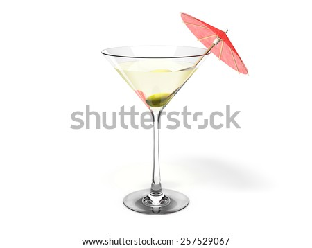 Martini glass with green olive and red coctail umbrella Isolated on white background - stock photo