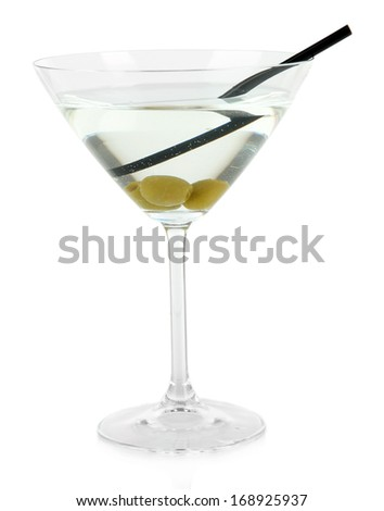 Martini glass with olives isolated on white  - stock photo
