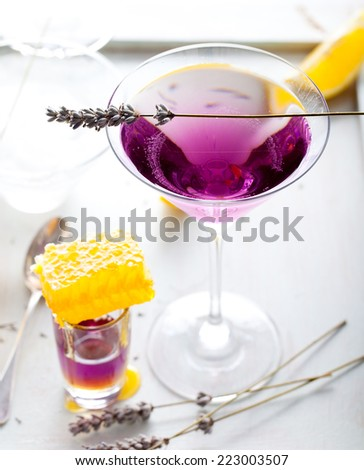 Martini, lavender, honey, lemon cocktail on a white background. - stock photo