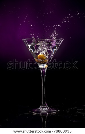 martini over dark background - stock photo