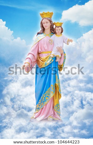 Mary and Jesus on the heaven - stock photo