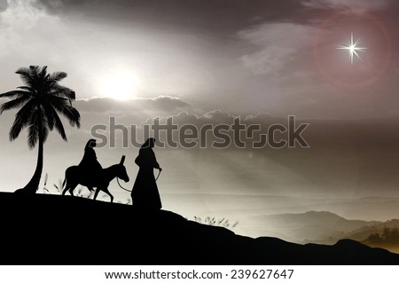 Mary and Joseph with a donkey on Christmas Eve. Bethlehem city in the background. Nativity story. - stock photo