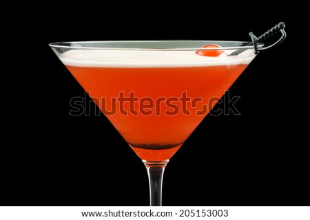Mary Pickford cocktail, consisting of rum, maraschino liqueur, pineapple juice and grenadine, garnished with a maraschino cherry - stock photo
