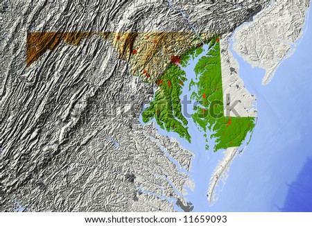Maryland. Shaded relief map.  Surrounding territory greyed out. Shows major urban areas and rivers.  Colored according to relative elevation. Clipping path for state area included. - stock photo