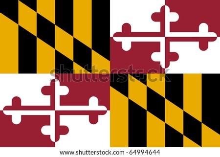 Maryland state flag of America, isolated on white background. - stock photo