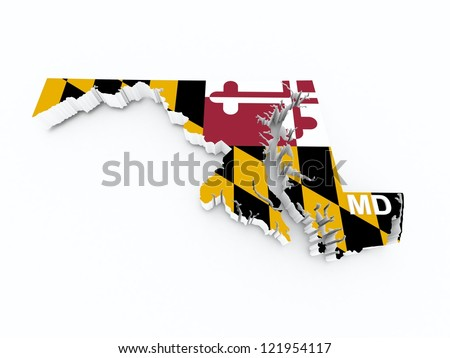 maryland state flag on 3d map - stock photo