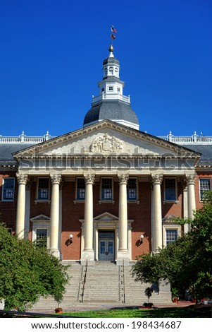 Maryland State House Capitol building in Greek revival architectural style and a registered National Historic Landmark in the historical MD capital city of Annapolis - stock photo