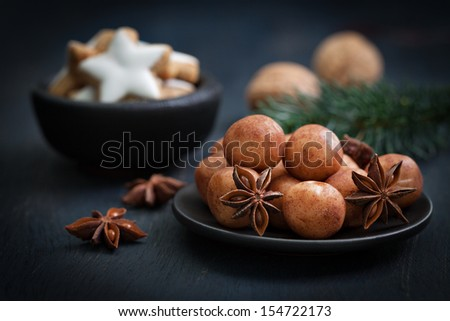 marzipan confectionery on a plate rustic - stock photo