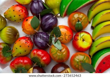 Marzipan sicilian. fruits - stock photo