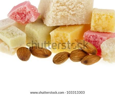 marzipan  with almonds on white - stock photo