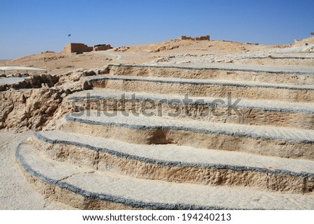 masada israel desert Negev city archaeological site archeology Jewish - stock photo