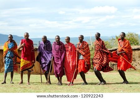 MASAI MARA, KENYA - NOVEMBER 10: Unidentified Masai warriors dance and participate in traditional jumps as part of a cultural ceremony on November 10, 2012 in Masai Mara National Park, Kenya - stock photo
