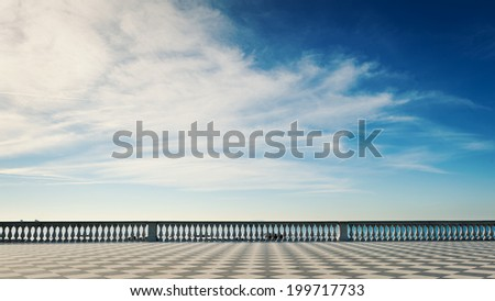 Mascagni terrace in front of the sea, Livorno. Tuscany, Italy.  - stock photo