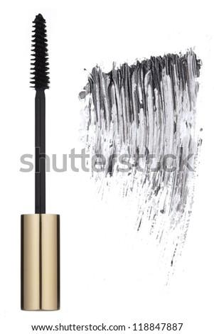 Mascara brush and stroke - stock photo