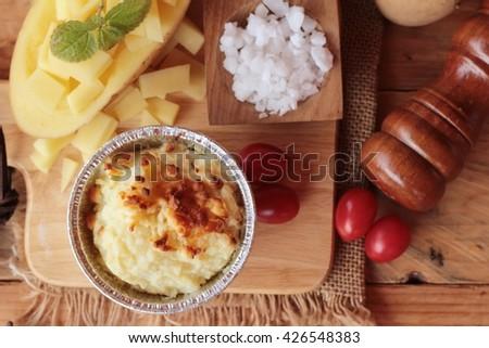 Mashed potato and fresh potato is delicious - stock photo