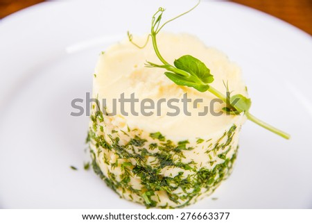 Mashed potato with chives - stock photo