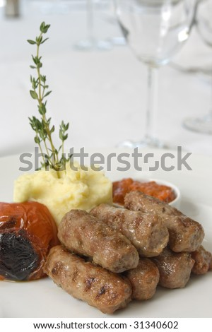 mashed potatoes and meatballs close up - stock photo