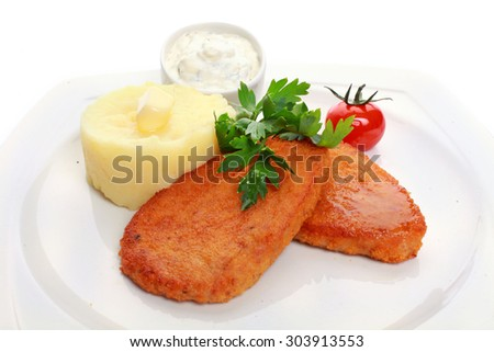 mashed potatoes with fried cutlet - stock photo