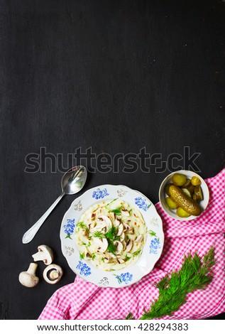 mashed potatoes with mushrooms - stock photo