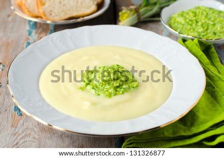 Mashed potatoes with wild garlic - stock photo