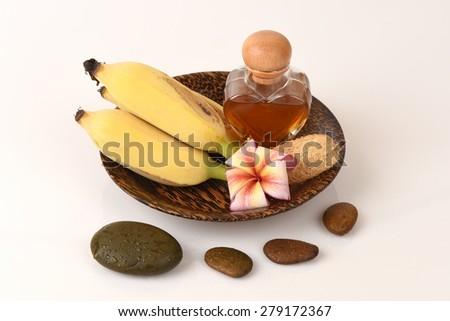 Mask face with banana and honey. - stock photo