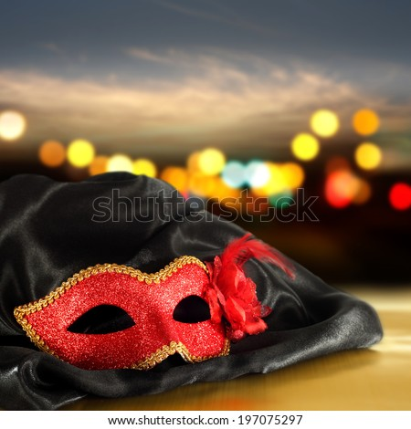 mask of red and black satin  - stock photo