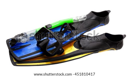 Mask, snorkel and flippers of different colors with water drops. Isolated on white background. - stock photo