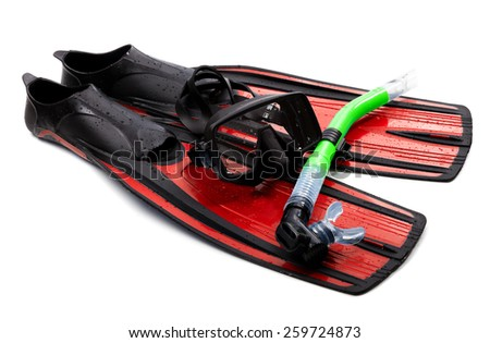 Mask, snorkel and flippers with water drops. Isolated on white background. - stock photo